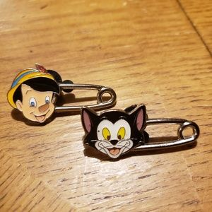 Pinocchio & Figaro safety pins trading pins.